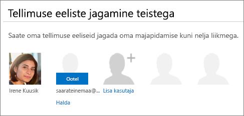"""Lehe """"Office 365 ühiskasutus"""" jaotise """"Tellimuste eeliste ühiskasutus"""" kuvatõmmis, kus on näha ooteolekuga kasutaja, kellega on tellimust jagatud."""