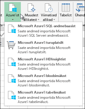 Power Query importimine Azure dialoogiboks