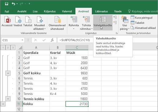 Exceli andmete vahekokkuvõtete lisamiseks klõpsake menüüs andmed nuppu vahekokkuvõte