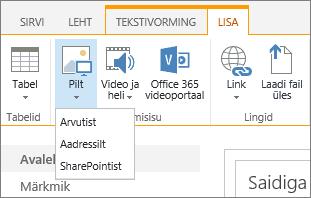 """SharePoint Online'i lindi kuvatõmmis. Valige menüü """"Lisa"""", seejärel valige """"Pilt"""", et laadide üles mõni fail oma arvutist, veebiaadressilt või SharePointi asukohast."""