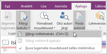 Kuvatõmmis OneNote 2016 nupust Märgi loetuks.