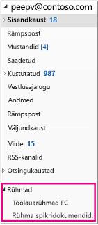 Outlook 2016 navigeerimispaani jaotis Rühmad