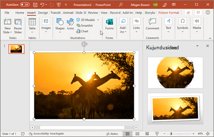 Kujundusriist täiustab slaidil olevaid pilte ühe klõpsuga.