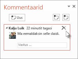 Kommentaari kustutamine
