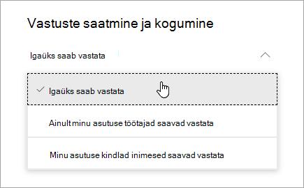 Microsoft Formsi ühiskasutuse suvandid
