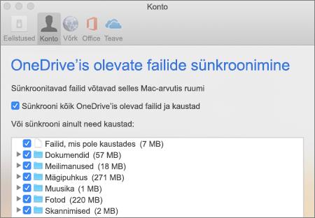 Kaustade sünkroonimise dialoogiboks OneDrive'is Maci versioonis