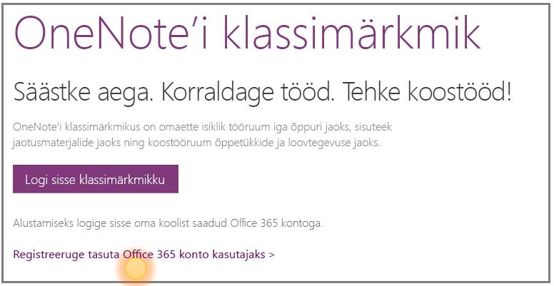 Kuvatõmmis tasuta Office 365 konto hankimisest.