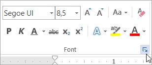 Klõpsake nuppu Font dialoogiboksi käivitit