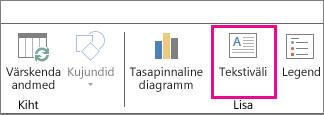 Tekstivälja nupp Power Mapi avalehemenüüs
