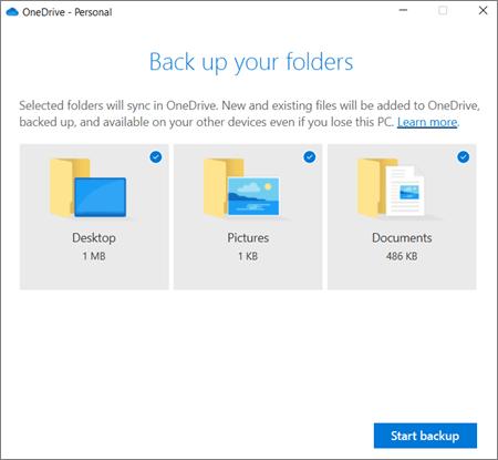 Pilt OneDrive ' i oluliste kaustade kaitse häälestamise dialoogiboksist