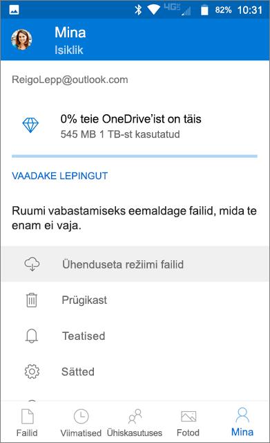 OneDrive'i ühenduseta kaust