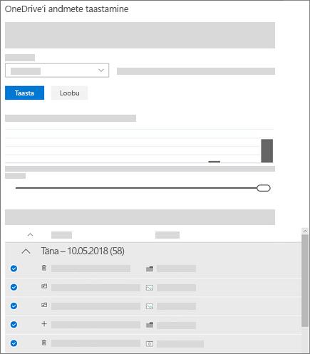 """Kuvatõmmis lehel """"Teie OneDrive'i taastamine"""" tegevuste diagrammi ja tegevuste kanali abil tegevuste valimisest."""