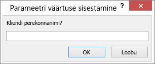 Enter parameter value