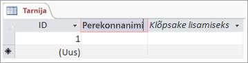 Väli ekraani väljavõte veeru kirjeldava nime lisamiseks