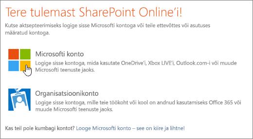 Kuvatõmmis, millel on kujutatud SharePoint Online'i sisselogimiskuva.