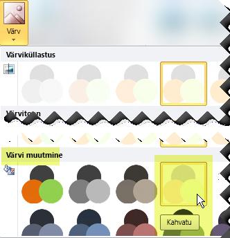 Klõpsake nuppu Värv ja tehke jaotises Muuda värvi valik Kahvatu.