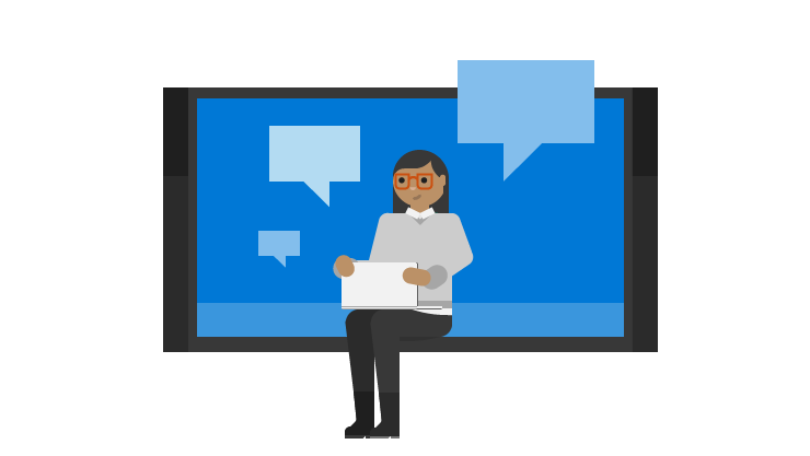 Illustratsioon naisest, sülearvutist ja dialoogiboksidest