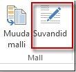 Nupp Mallisuvandid rakenduses Publisher 2013