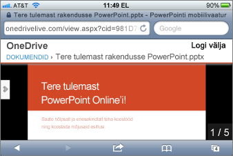 Slaidiseanss rakenduses Mobile Viewer for PowerPoint