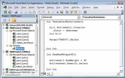 Moodul, mis sisaldab kahte töövihiku Vihik1 moodulis Moodul1 talletatavat makrot