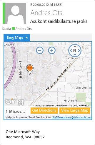 Rakendusega Bingi kaardid meilisõnum, milles aadress kuvatakse kaardil