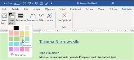 Rohelise taustaga Wordi dokument ja avatud lehe Värvivalija