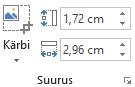 """Office 2016 lindi nupp """"Kärbi"""" ja piltide suuruse muutmiseks väljad """"Kõrgus"""" ja """"Laius"""""""