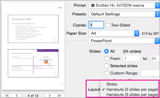 PowerPoint for Mac Preview Handouts for Print