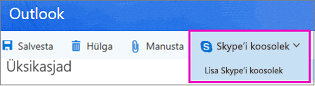 Uus Skype'i koosolek suvand Outlooki veebirakenduses