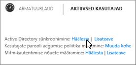 Valige Active Directory sünkroonimise kõrval nupp Häälesta