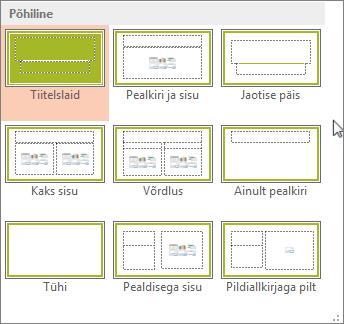 PowerPointi slaidipaigutused