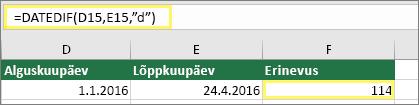 """Lahter D15 väärtusega 1/1/2016, lahter E15 väärtusega 4/24/2016, lahter F15 valemiga =DATEDIF(D15,E15,""""d"""") ja tulemiga 114"""