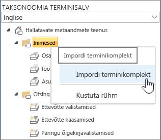Impordi terminikomplekt rippmenüü