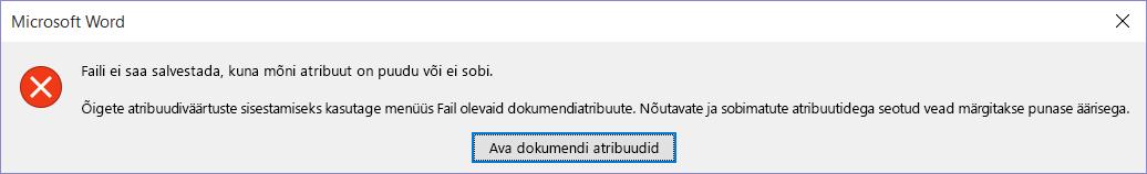 Dialoogiboks, mis näitab, et faili ei saa salvestada.