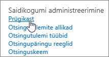 Saidikogumi administraatori jaotise sätted, kus on esile tõstetud link Prügikast