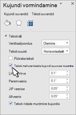 Kujundi vormindamine, kus on valitud teksti suuruse muutmise kujund
