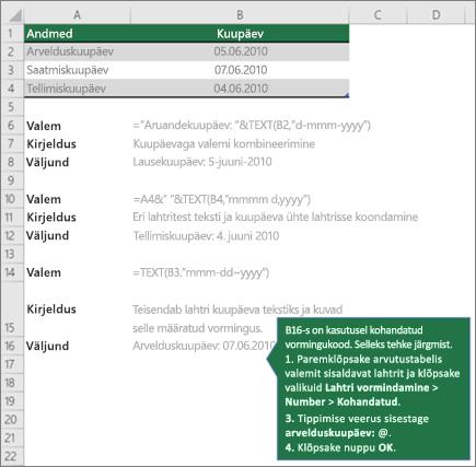 Näiteid, kuidas valemeid saate teksti ühendamine kuupäeva ja kellaaja väärtuste kuvamiseks