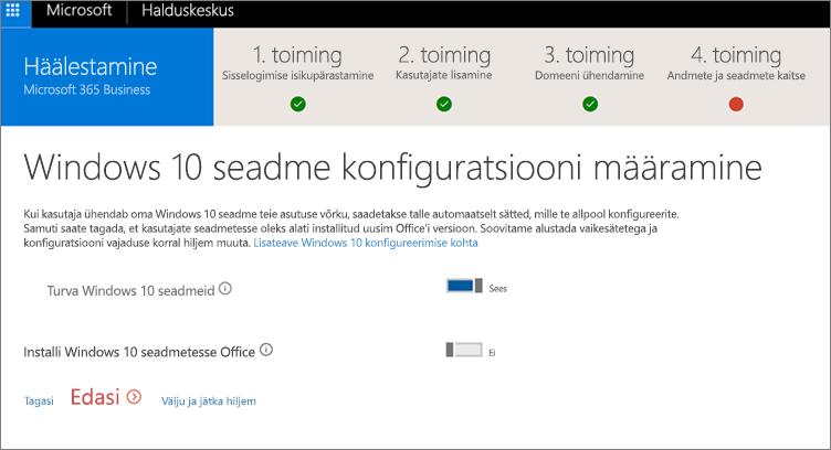 Windows 10 seadmete ettevalmistamise lehe kuvatõmmis