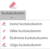PowerPoint for Office 2019 on digitaalse tindi jaoks neli kustutuskummi.