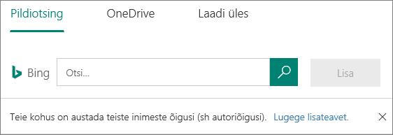 Rakenduse Microsoft Forms Pildisuvandid lisamine