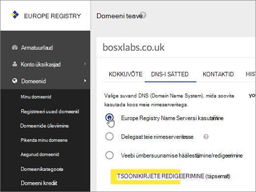 Valige Use Europe Registry Name Servers (Kasuta Euroopa registri nimeservereid).