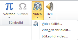 Lindil olev nupp veebivideo lisamiseks rakenduses PowerPoint 2010