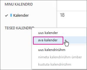 Outlook Web Appis kalendri avamise menüü