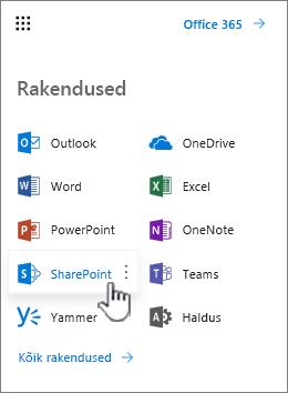 Office 365 rakenduste loendis kaudu rakendusekäiviti nupp