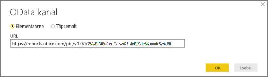 OData kanali URL Power BI töölauarakenduse jaoks