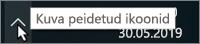 Windowsi süsteemisalv peidetud ikoonidele osutava noolega