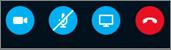 Skype'i tööriistad, kus on kuvatud järgmisi ikoone: kaamera, mikrofon, esita Kuva telefonitoru