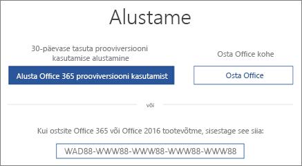 """Kuva """"Hakkame pihta!"""", mis näitab et Office 365 prooviversioon on selle seadmega kaasas"""