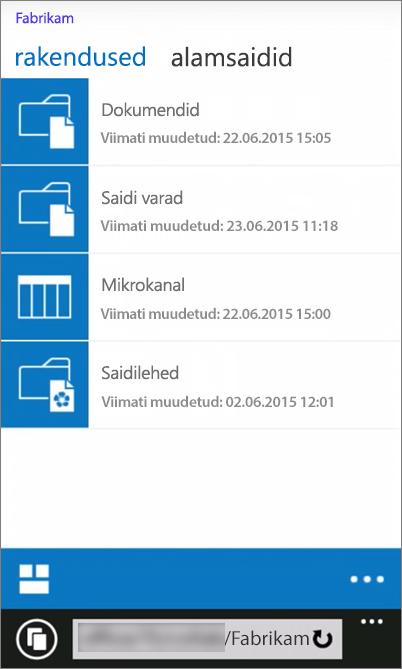 SharePoint Serveri 2016 saidi mobiilivaate kuvatõmmis