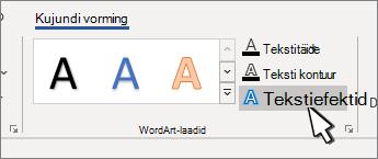WordArt-laadi teksti efektide nupp on esile tõstetud
